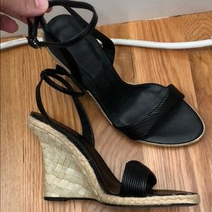 Adorable strappy black wedges with bamboo heel